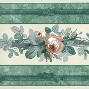 Vintage Wallpaper Border Roses Peach Green NM5203 FREE Ship