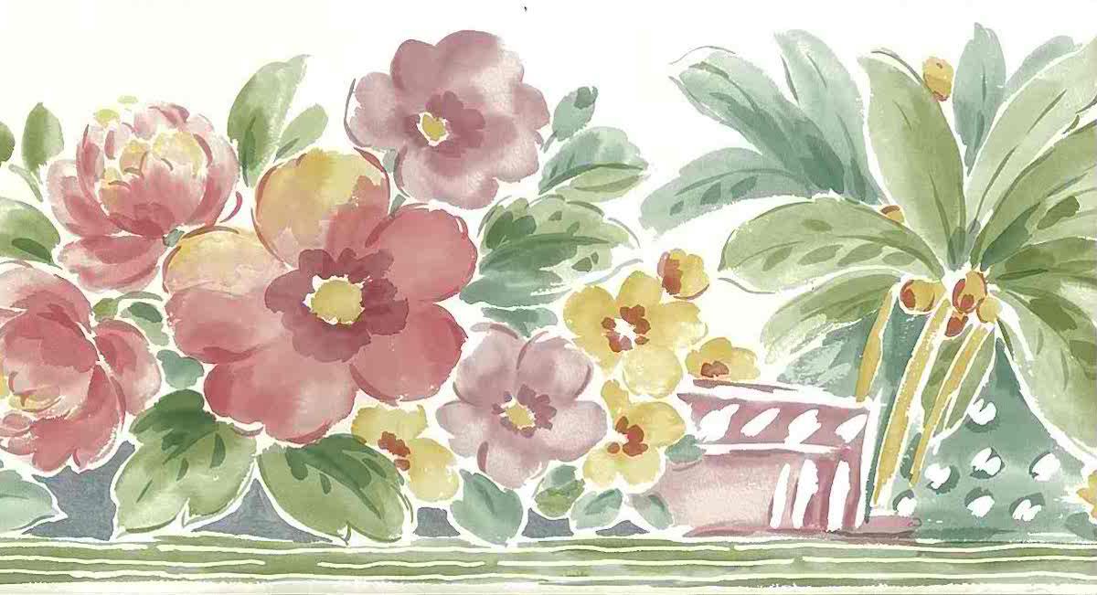 tropical floral vintage wallpaper border, pink, rose, green, hibiscus, anemone, peonies,