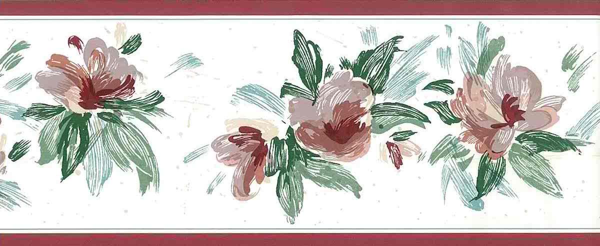lavender floral vintage wallpaper border, cottage, pink, rose, green, off-white, cottage, glazed