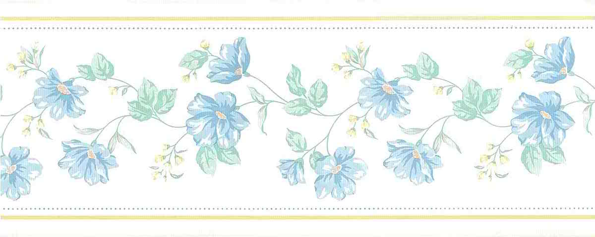 Blue vintage floral border, green, yellow, textured, moire, cottage, white