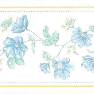 Blue Vintage Floral Border Green Textured Moire 589660 FREE Ship