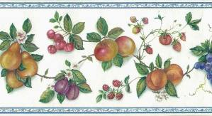 kitchen wallpaper border fruit, floral, flowers, grapes, cherries, peaches, plums, apples, pears, blue, purple, off-white, green, orange, red, Waverly, vintage, border