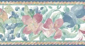 lilies vintage wallpaper border plums