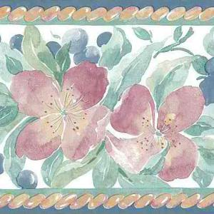 Lilies Vintage Wallpaper Border Kitchen Plums Pink TM2043B FREE Ship