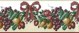 red ribbon vintage wallpaper border,check,bow,grapes,roses,ivy,purple,yellow,green,textured
