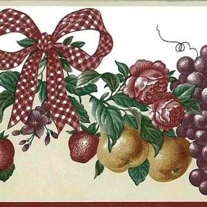 Red Ribbon Vintage Wallpaper Border Kitchen Fruit 7060-072 FREE Ship