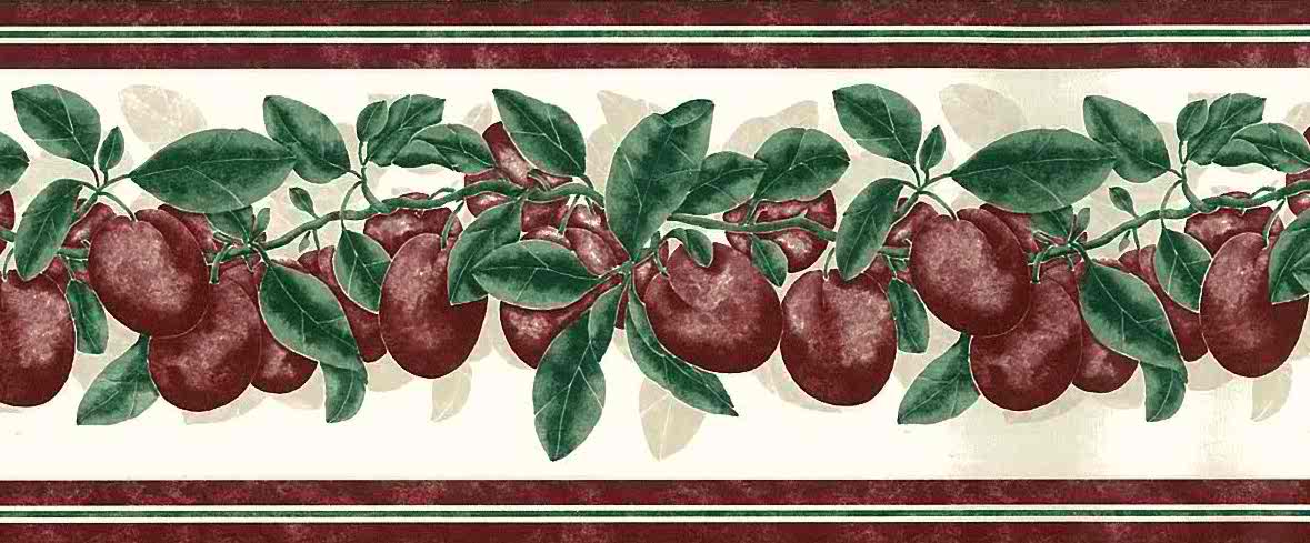 plums vintage kitchen border, purple, green, cream, red, leaves,