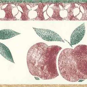 Lemons Apples Vintage Wallpaper Border Red Kitchen 80330 FREE Ship