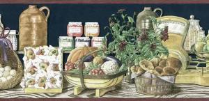 Americana vintage wallpaper border, eggs, apples, flowers, fruits, vegetables, radishes, peppers