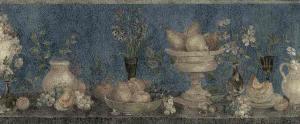 blue kitchen vintage wallpaper border, navy blue, fruit, apples, pears, grapes, UK, textured, glazed