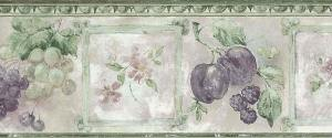 fruit floral kitchen vintage border, plums, grapes, green, purple, egg and dart, textured