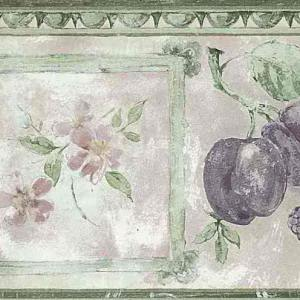 Fruit Floral Vintage Kitchen Border Green Purple UK B.3290 FREE Ship