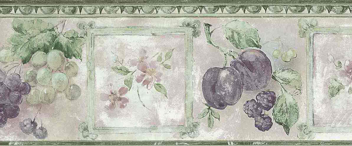 grapes vintage wallpaper border pink green