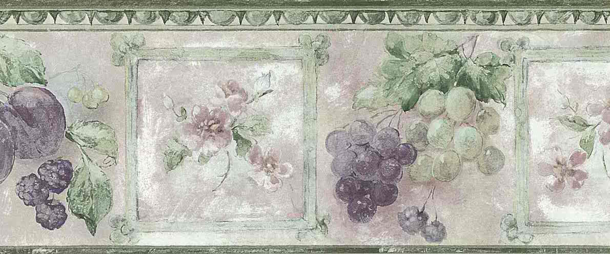 Textured Grape Floral Wallpaper Border