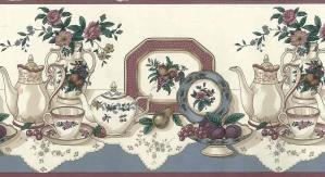 vintage kitchen border coffee, tea, fruit, flowers, slate blue, maroon, doilies