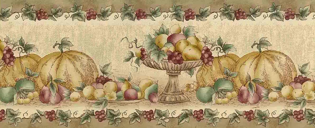 Fall Fruit Vintage Wallpaper Border Beige Kitchen 92 04257