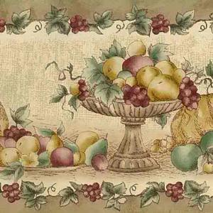 Fall Fruit Vintage Wallpaper Border Beige Kitchen 92-04257 FREE Ship