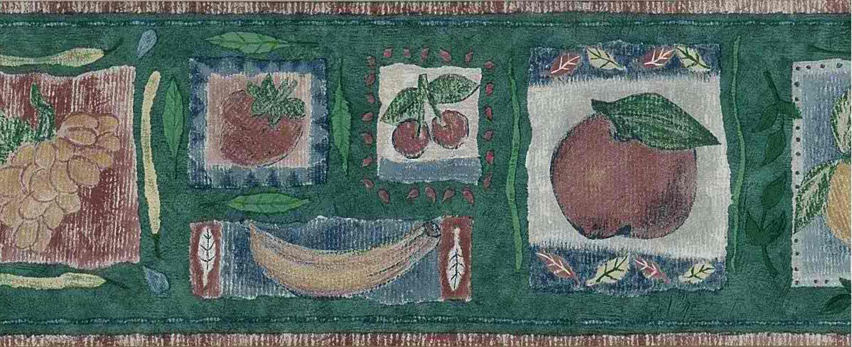 Kitchen vintage wallpaper border fruit, lemons, cherries, grapes, peaches, bananas, green, red, yellow