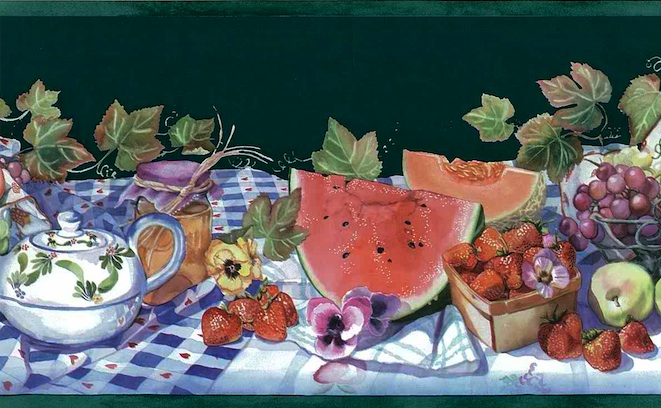 strawberries, plums, watermelon, Summer wallpaper sidewall and border patterns, red, blue, white, purple, Kitchen, food