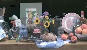 sunflowers kitchen vintage border, wallpaper border, fruit, peaches, cottage, yellow brown, Chesapeake, 010976013058,