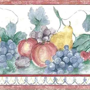 Kitchen Vintage Fruit Wallpaper Pears Grapes Red KY5232B FREE Ship