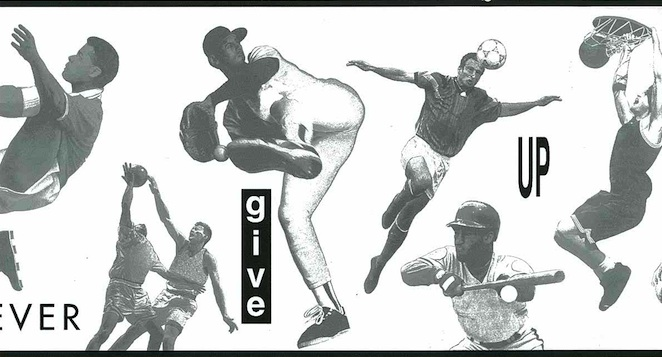 Vintage wallpaper border sports, football, baseball, basketball, soccer, volleyball, script, black, gray, off-white