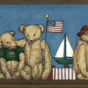 Bears Sailboats Vintage Wallpaper Border Kids 5807006 FREE Ship