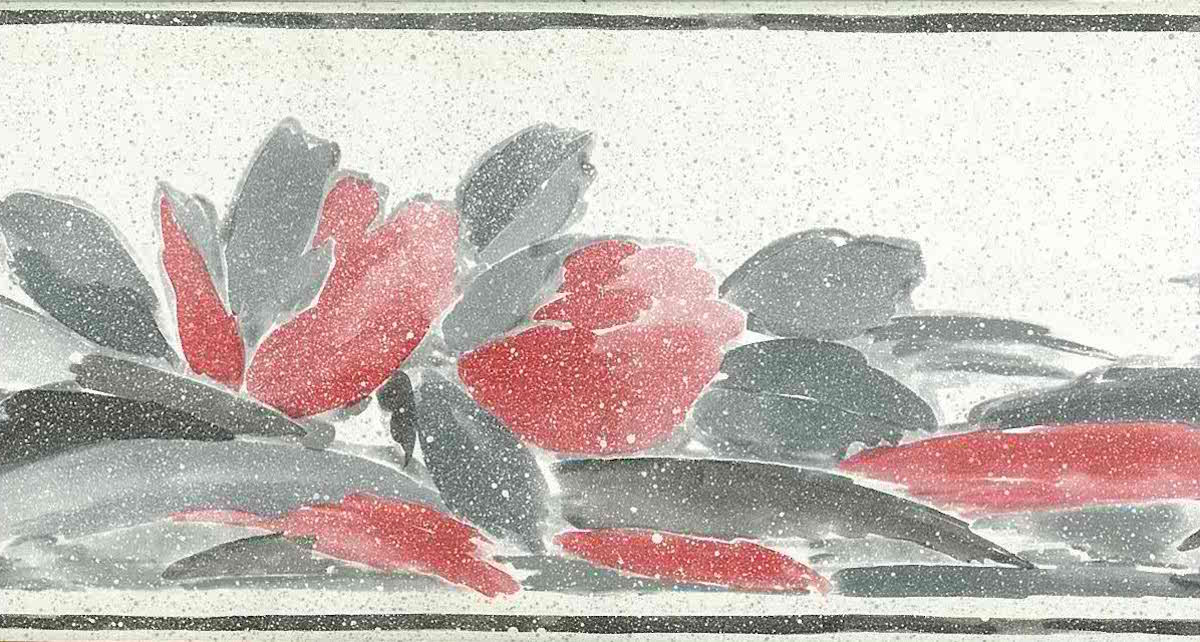 contemporary vintage border, gray, pink, leaves, off-white, speckled faux finish
