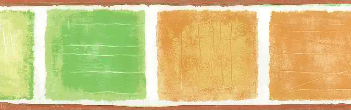 modern wallpaper border kitchen, mid-century style, orange, green, off-white, contemporary, squares, watercolor look