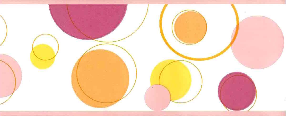 Pnk-orange mid-century wallpaper, border, circles, yellow, white, kitchen, geometric