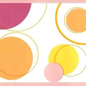 Pink Orange Mid-Century Wallpaper Border Circles BM9057B FREE Ship