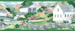 Americana covered bridge border, wallpaper border, green, pink, blue, mill, stream, country, cottage, kitchen
