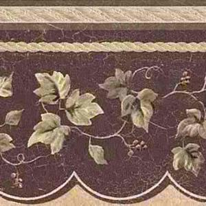 Maroon Leaf Vintage Wallpaper Border Metallic 57833C FREE Ship