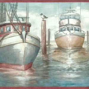 Fishing Vessels Boats Wallpaper Border Nautical Bathroom CH5200B FREE Ship