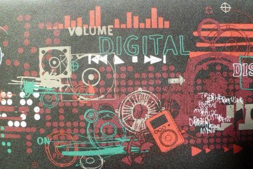 music wallpaper border, digital, Black, Red, Green