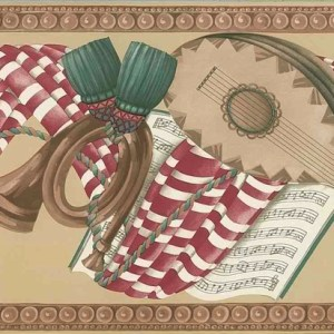 Musical Notes Swag Wallpaper Border French Horn AM1141B FREE Ship