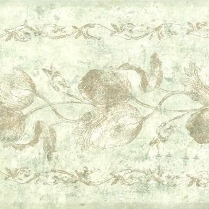 Cream Floral Wallpaper Border Vintage Tulips Floral Green 77895 FREE Ship