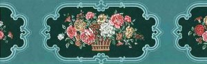 Teal Floral Vintage Wallpaper Border, Bouquets, Green Scroll Frames