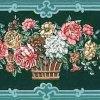 Teal Floral Vintage Wallpaper Border, Bouquets, Green Scroll Frames