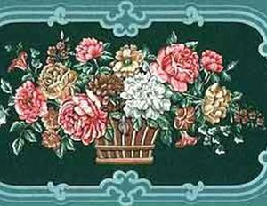 Teal Floral Vintage Wallpaper Border Bouquets Sampler PVB719 FREE Ship