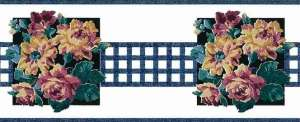 Blue Lattice vintage Wallpaper Border, floral, bouquet, cabbage roses