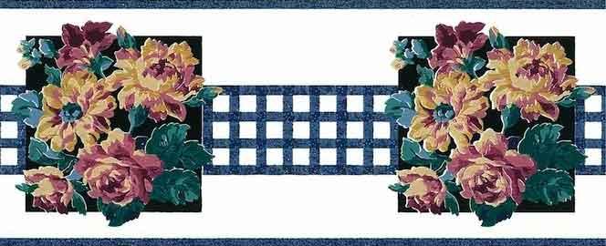 Blue Lattice vintage Wallpaper Border, floral, bouquet, cabbage roses