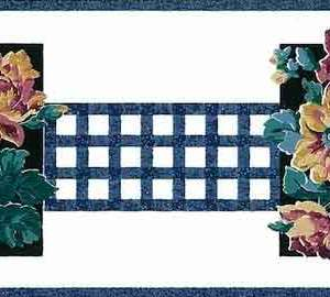 Blue Lattice Vintage Wallpaper Border Floral Cottage GP19402 Free Ship