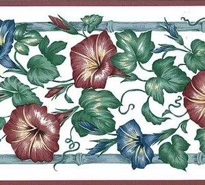 Blue Morning Glories Vintage Border Red Sanitas 768B1535 FREE Ship