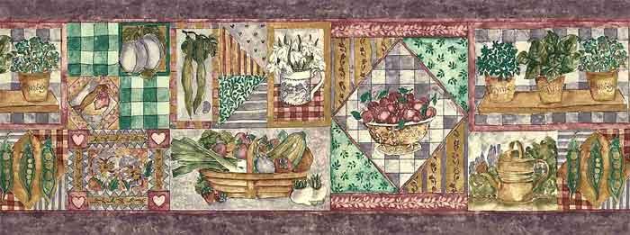 Purple Vegetable vintage Wallpaper Border, collage styie, eggplants, strawberries, onions