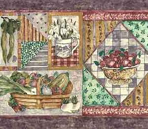 Purple Vegetable Vintage Wallpaper Border Kitchen DLM8091 FREE Ship