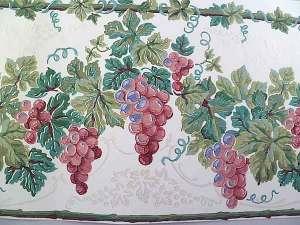 Glazed Grapes Vintage Wallpaper Border in White, Green & Rose