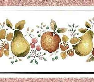 Red Fruit Wallpaper Border Vintage Kitchen Yellow JM4003B FREE Ship