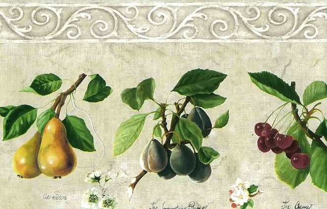 Cream Fruit Wallpaper Border with French Script and green leaves