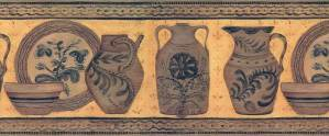 Vintage Pottery Wallpaper Border in Terracotta, Brown, & Black